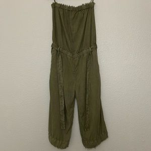 Cloth & Stone Green Strapless Frayed Jumpsuit L